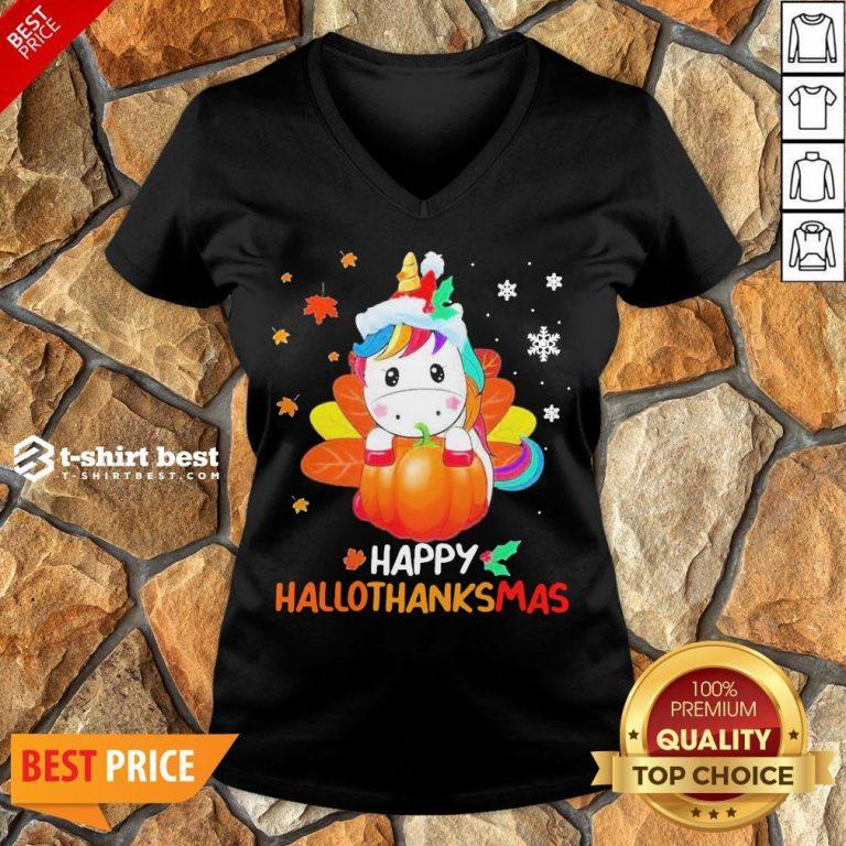 Nice Unicorn Happy Hallothanksmas V-neck- Design By T-shirtbest.com