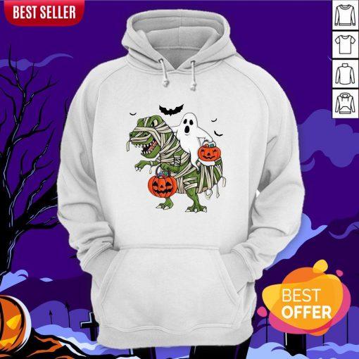 Official Premium Dinosaur T-rex And Ghost Halloween Pumpkin Hoodie