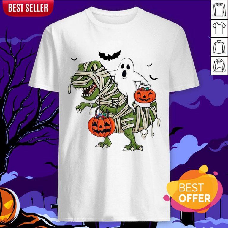 Official Premium Dinosaur T-rex And Ghost Halloween Pumpkin Shirt