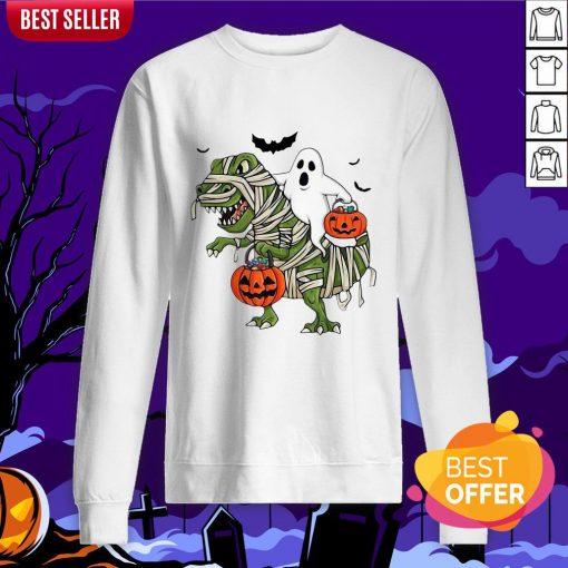 Official Premium Dinosaur T-rex And Ghost Halloween Pumpkin Sweatshirt