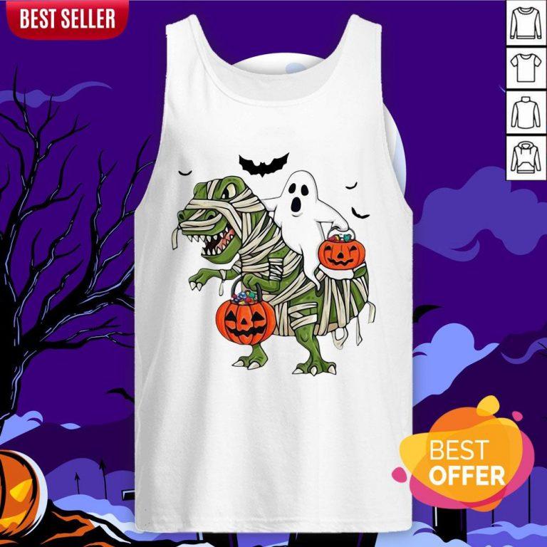 Official Premium Dinosaur T-rex And Ghost Halloween Pumpkin Tank Top
