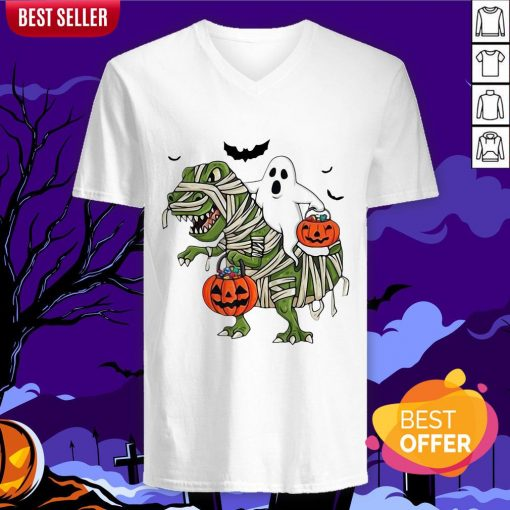 Official Premium Dinosaur T-rex And Ghost Halloween Pumpkin V-neck