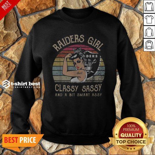 Oklahoma Raiders Girl Classy Sassy And A Bit Smart Assy Vintage Retro Sweatshirt