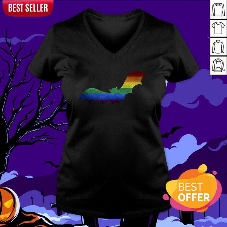 Scary LGBT Bat Happy Halloween Day V-neck