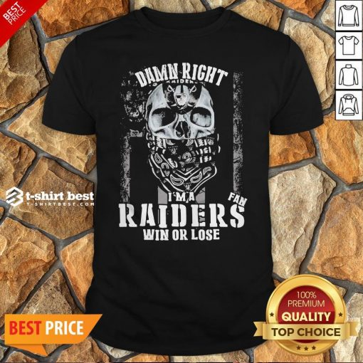 Skull Damn Right I'm A Oklahoma Raiders Win Or Lose Shirt