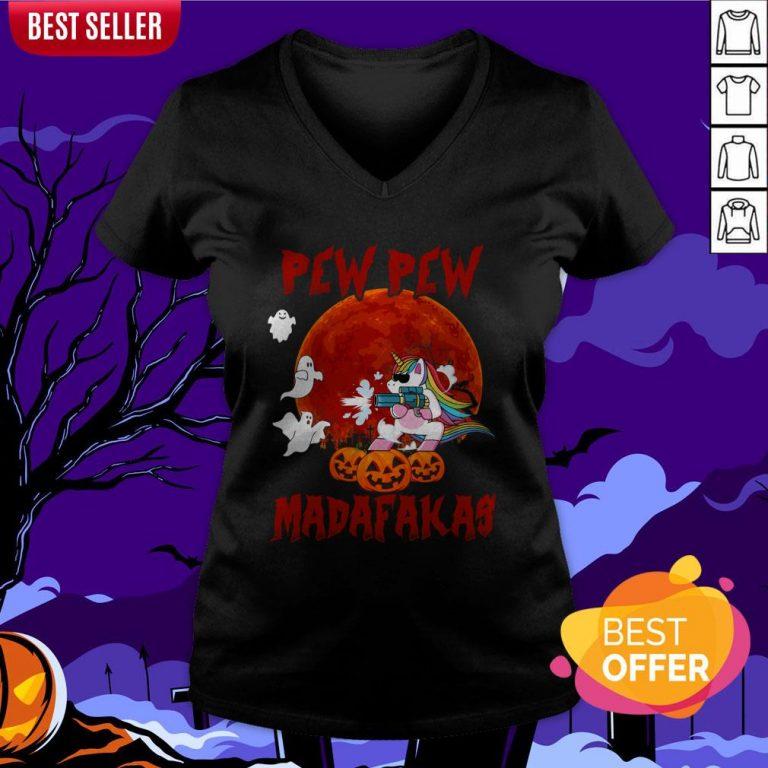 Unicorn Pewpew Madafakas Halloween Day V-neck