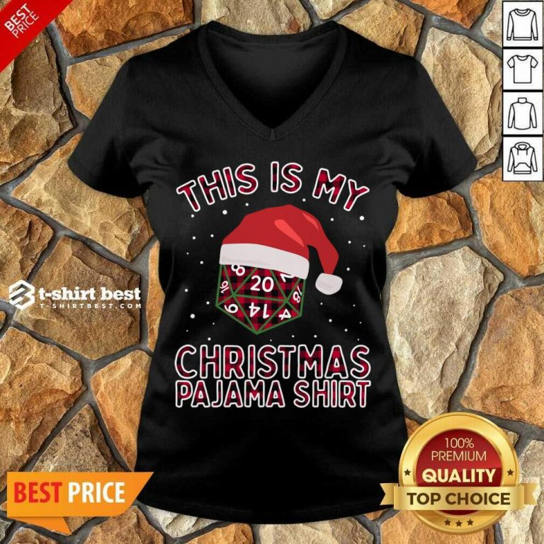 This Is My Christmas Pajama Plaid Board Game Role Play D20 T-V-neck- Design By 1tees.com