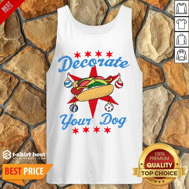 Awesome Decorate Your Dog Hot Dog Mery Christmas Tank Top