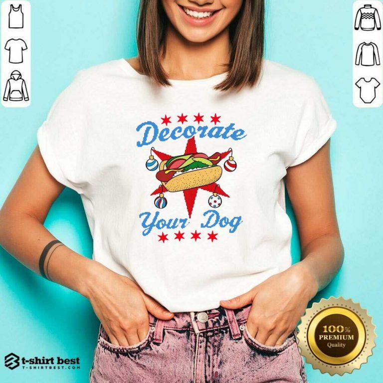Awesome Decorate Your Dog Hot Dog Mery Christmas V-neck