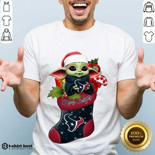 Funny Baby Yoda Hug Houston Texans Ornament Merry Christmas 2020 Shirt - Design By 1tees.com