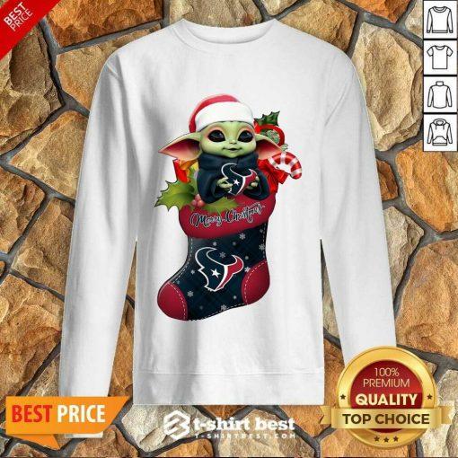 Baby Yoda Hug Houston Texans Ornament Merry Christmas 2020 Sweatshirt - Design By 1tees.com