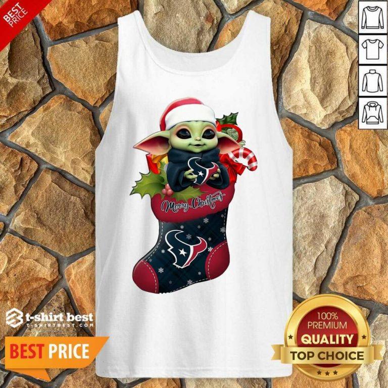 Baby Yoda Hug Houston Texans Ornament Merry Christmas 2020 Tank Top - Design By 1tees.com