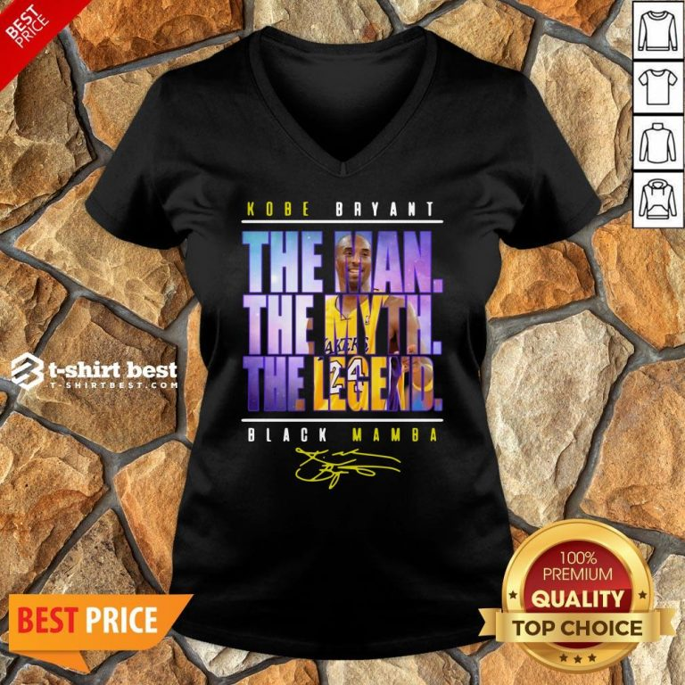 Funny Kobe Bryant The Man The Myth The Legend Black Mamba Signature V-neck