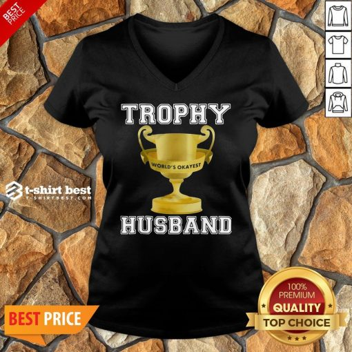 Funny Trophy World's Okayest Husband V-neck