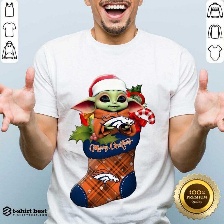 Good Baby Yoda Hug Denver Broncos Ornament Merry Christmas 2020 Shirt - Design By 1tees.com