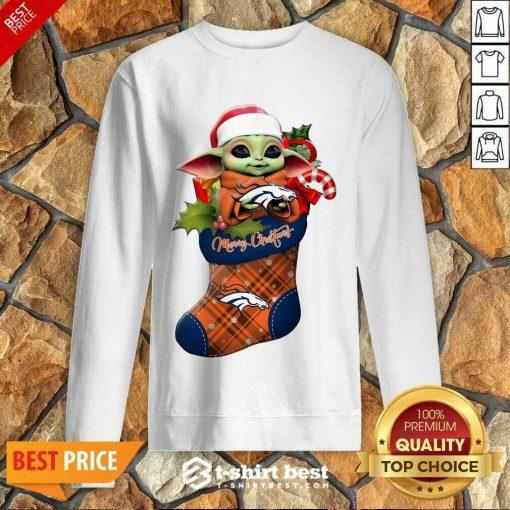 Baby Yoda Hug Denver Broncos Ornament Merry Christmas 2020 Sweatshirt - Design By 1tees.com