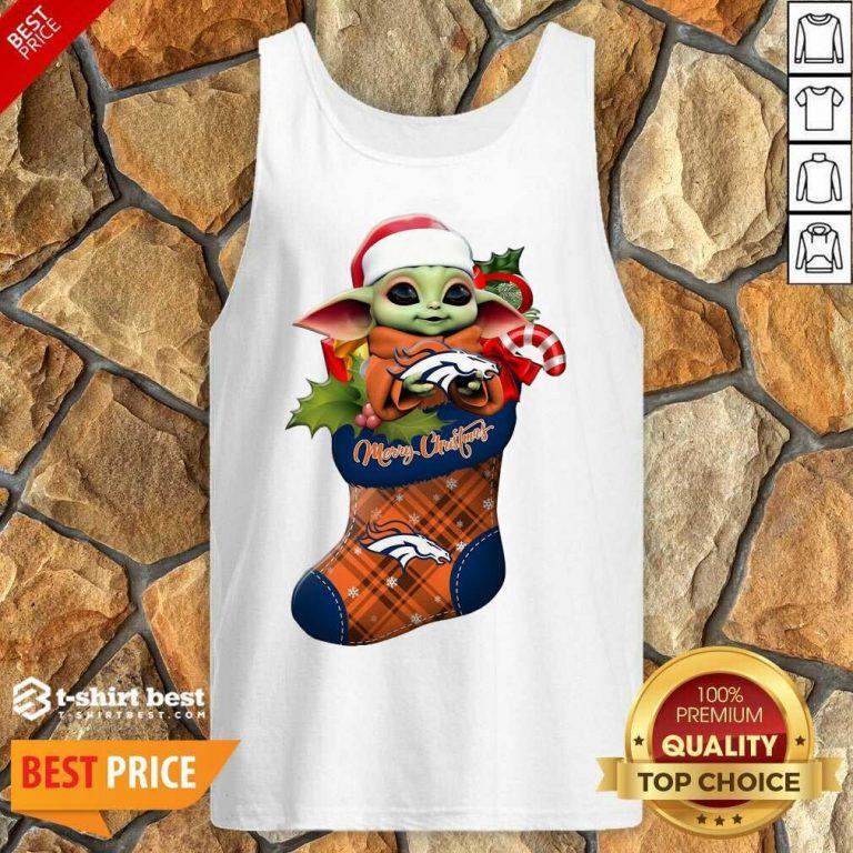 Baby Yoda Hug Denver Broncos Ornament Merry Christmas 2020 Tank Top - Design By 1tees.com