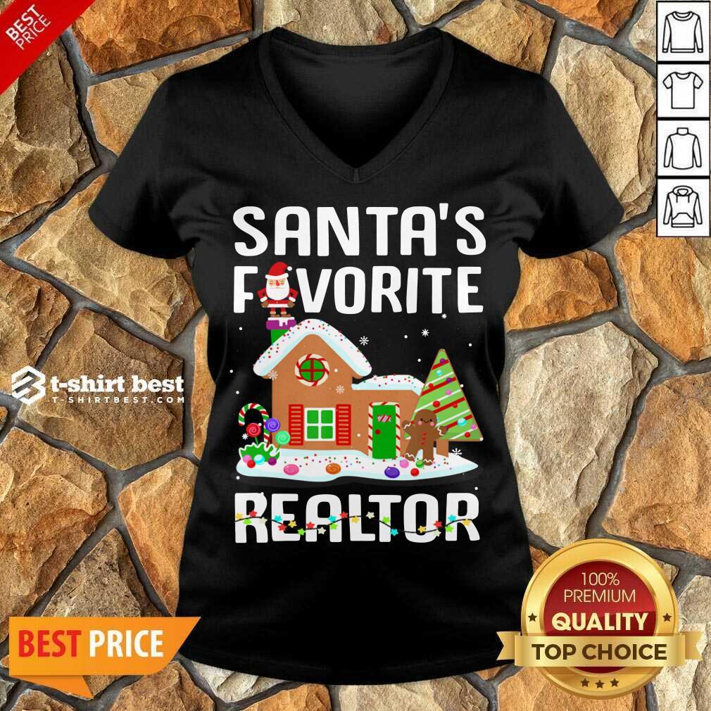Santa's Favorite Realtor Anti Covid-19 Merry Christmas 2020 V-neck - Design By 1tees.com