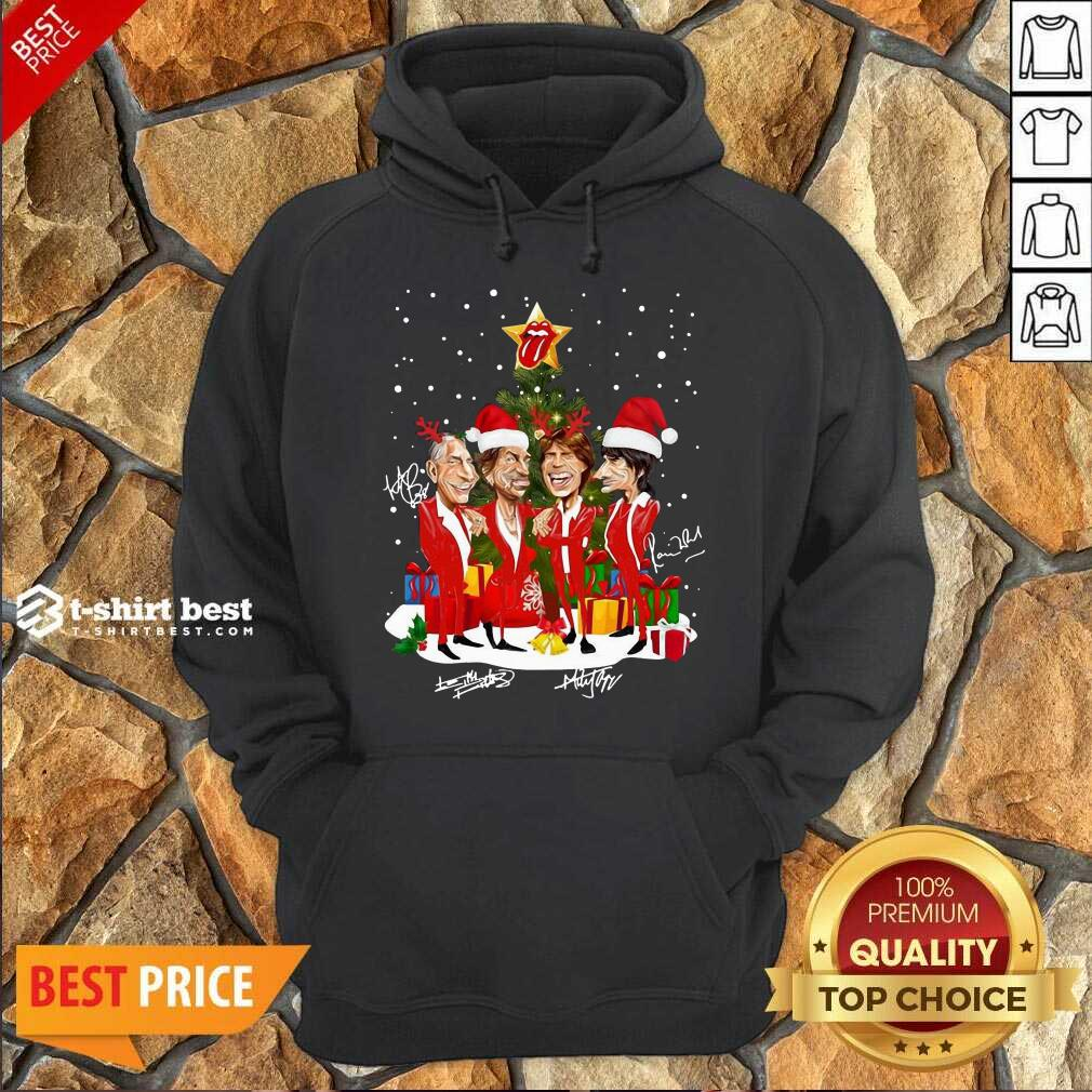 The Rolling Stones Band Music Wear Pajama Santa Christmas Tree Gift Signatures Hoodie - Design By 1tees.com