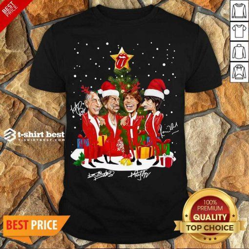 Good The Rolling Stones Band Music Wear Pajama Santa Christmas Tree Gift Signatures Shirt - Design By 1tees.com