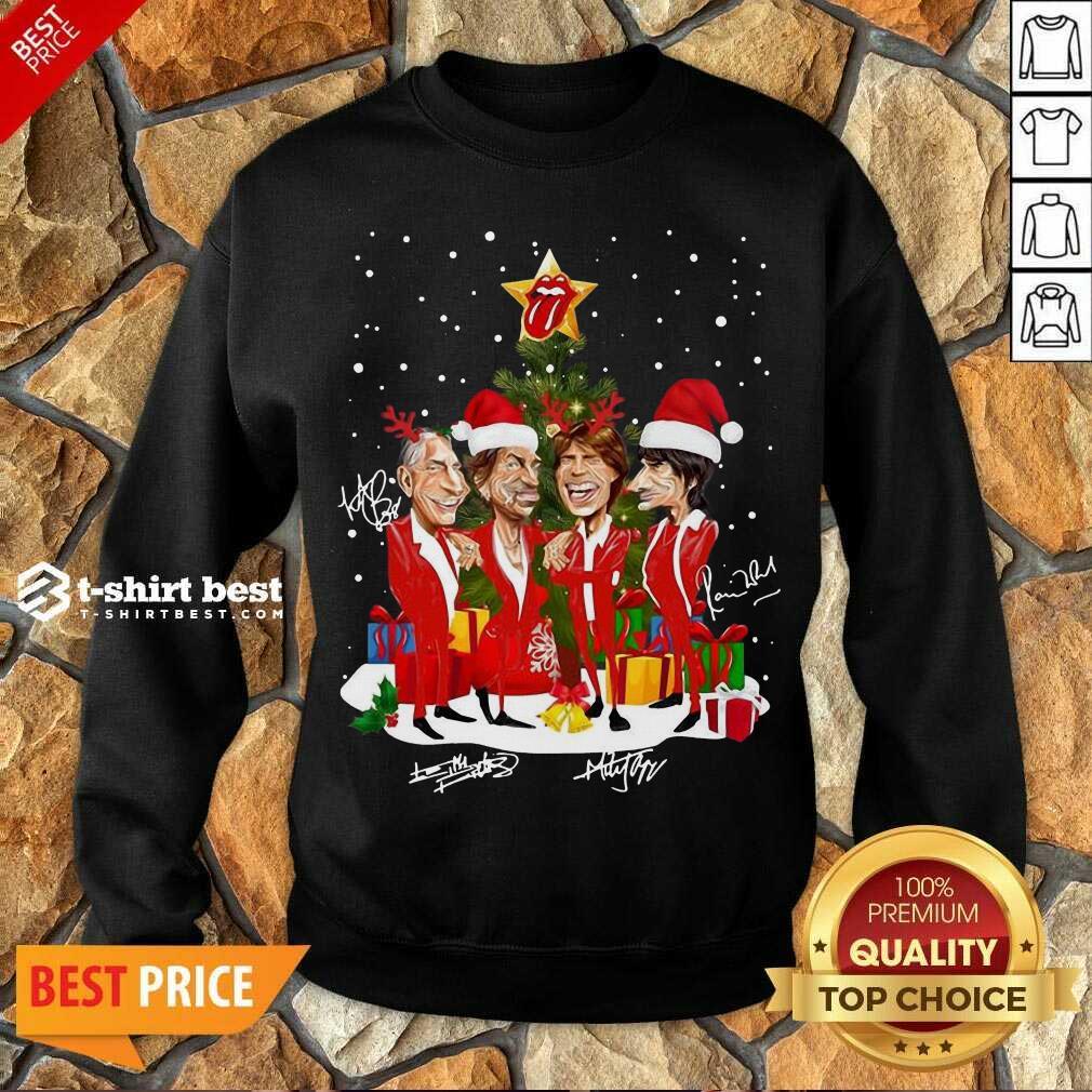 The Rolling Stones Band Music Wear Pajama Santa Christmas Tree Gift Signatures Sweatshirt - Design By 1tees.com