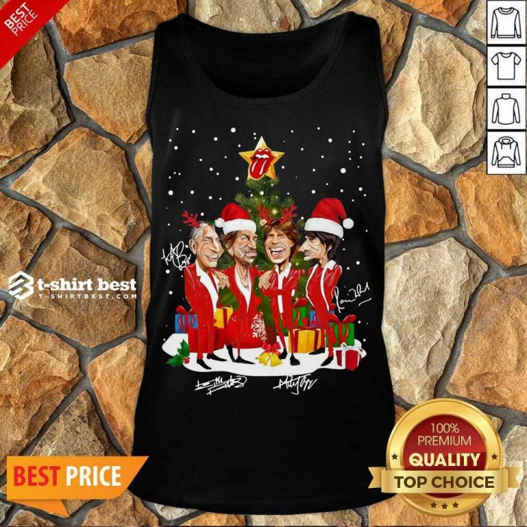 The Rolling Stones Band Music Wear Pajama Santa Christmas Tree Gift Signatures Tank Top - Design By 1tees.com