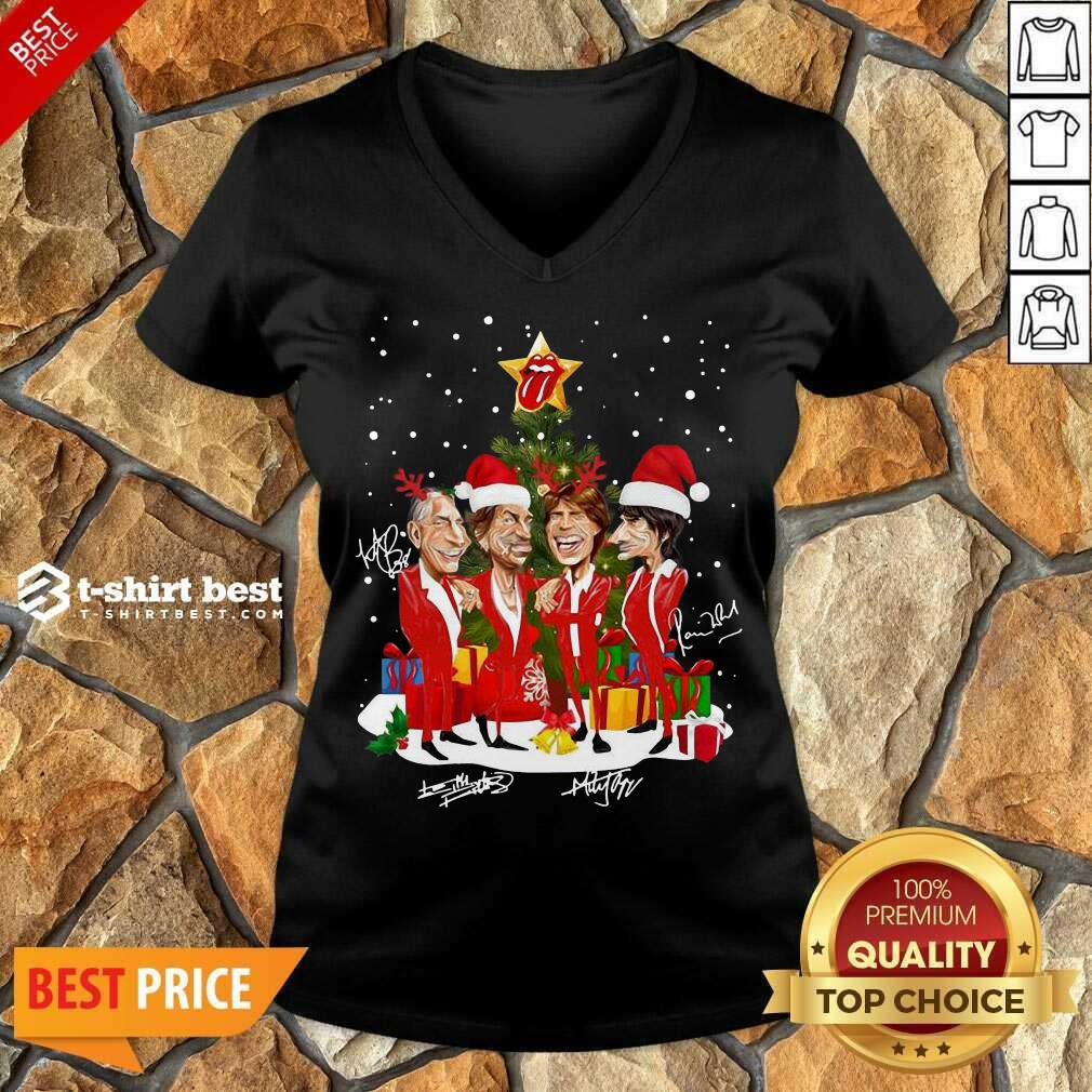 The Rolling Stones Band Music Wear Pajama Santa Christmas Tree Gift Signatures V-neck - Design By 1tees.com