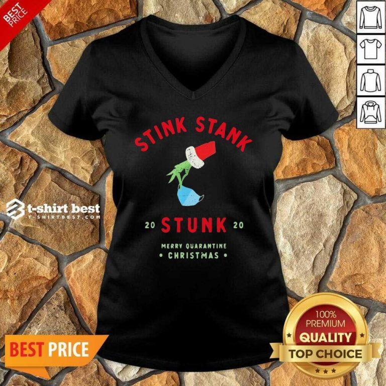 Grinch Hand Holding Stink Stank 20 Stunk 20 Merry Quarantine Christmas V-neck