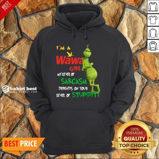 Grinch I'm A Wawa Girl My Level Of Sarcasm Depends On Your Level Of Stupidity Hoodie