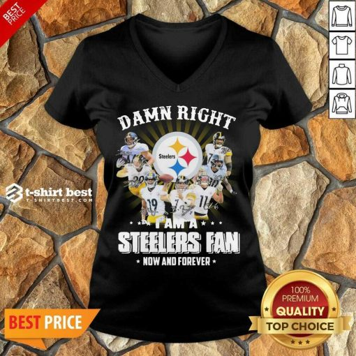 So Damn Right I Am A Pittsburgh Steelers Fan Now And Forever Signature V-neck - Design By 1tees.com