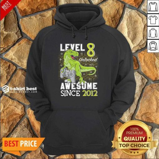 Level 8 Unlocked Awesome Since 2012 Dinosaurs 8 Year Gamer Birthday Hoodie