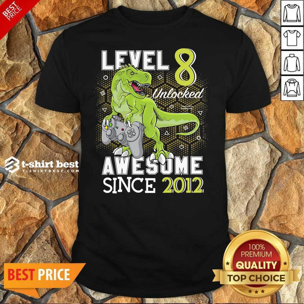 Level 8 Unlocked Awesome Since 2012 Dinosaurs 8 Year Gamer Birthday Shirt