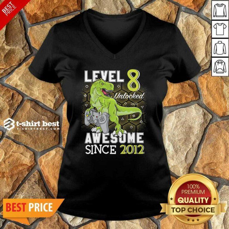 Level 8 Unlocked Awesome Since 2012 Dinosaurs 8 Year Gamer Birthday V-neck