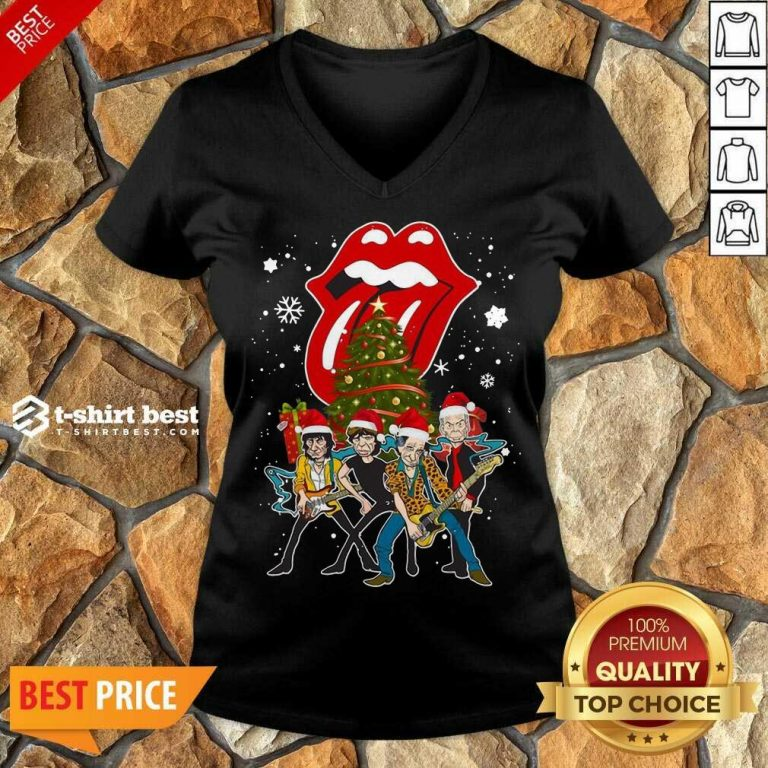 The Rolling Stones Band Music Wear Pajama Santa Christmas Tree Gift V-neck - Design By 1tees.com