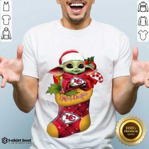 Original Baby Yoda Hug Kansas City Chiefs Ornament Merry Christmas 2020 Shirt - Design By 1tees.com