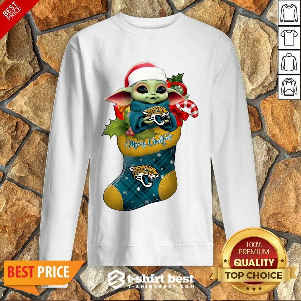 Baby Yoda Hug Jacksonville Jaguars Ornament Merry Christmas 2020 Sweatshirt - Design By 1tees.com