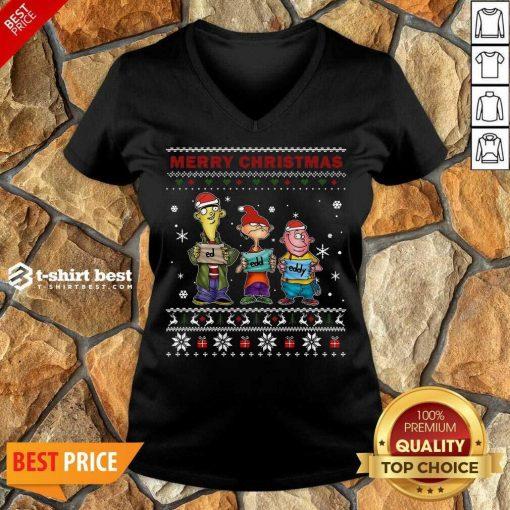 Ed Edd Eddy Merry Christmas Ugly V-neck - Design By 1tees.com