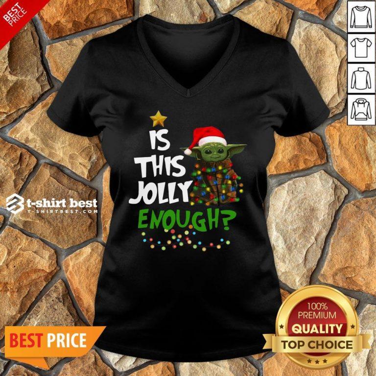 Premium Is This Jolly Enough Baby Yoda Light Christmas V-neck