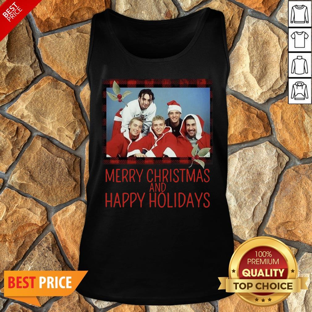 Premium NSYNC Merry Christmas And Happy Holidays Sweat Tank Top