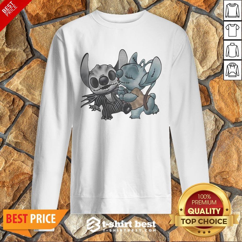 Premium Stitch And Angel Nightmare Before Xmas Sweatshirt
