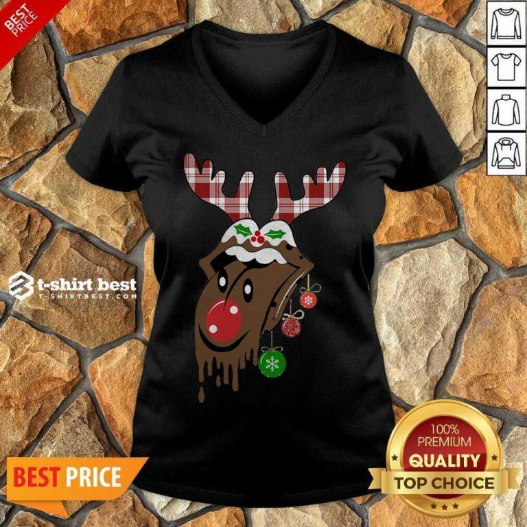 Reindeer Rolling Stones Merry Christmas V-neck - Design By 1tees.com
