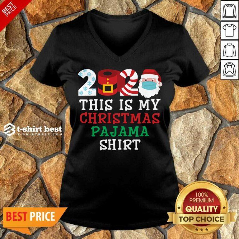 Pretty This Is My Christmas Pajama Shirt Family 2020 V-neck - Design By 1tees.com