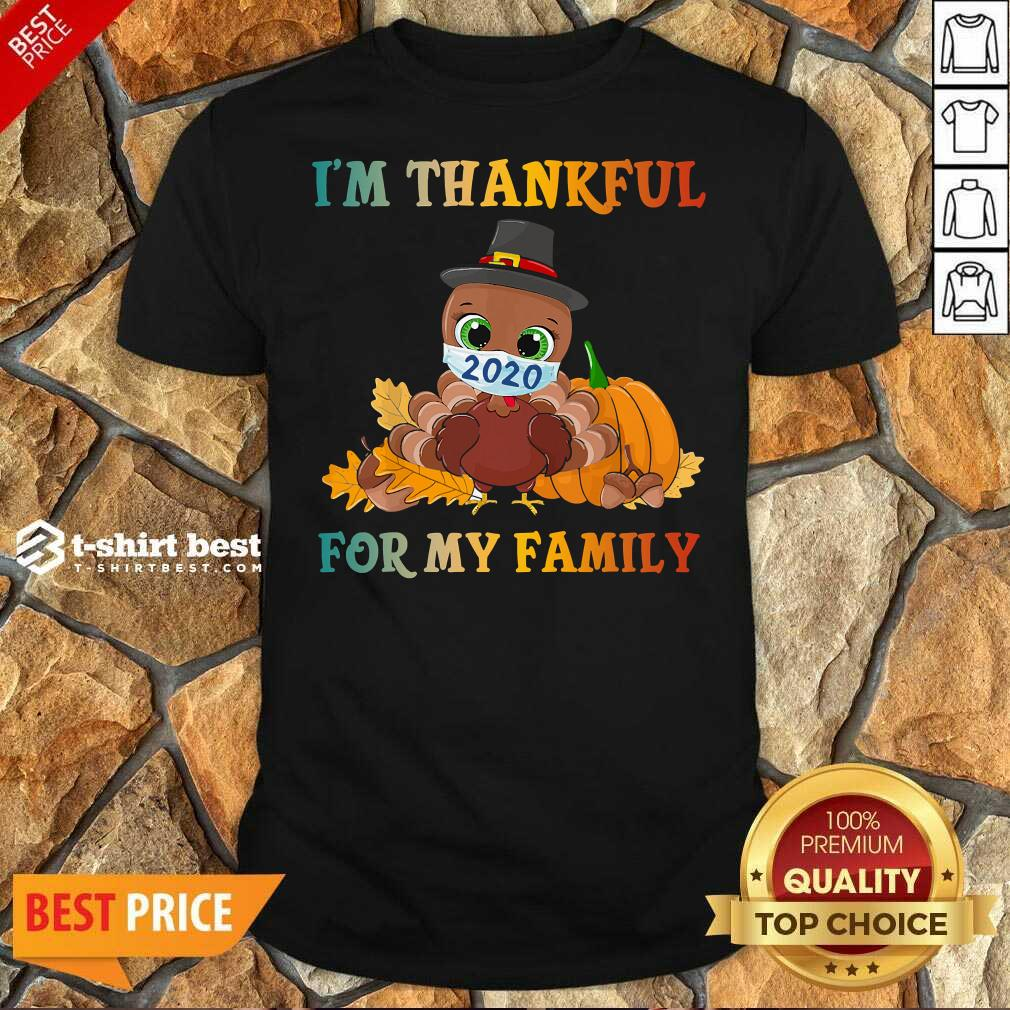 Top I'm Thankful For My Family Thanksgiving Turkey Wearing Mask 2020 Shirt