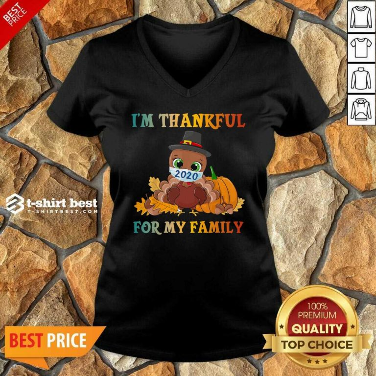 Top I'm Thankful For My Family Thanksgiving Turkey Wearing Mask 2020 V-neck