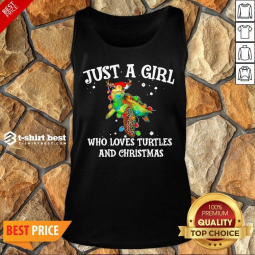 Top Just A Girl Who Loves Turtles And Christmas Tank Top