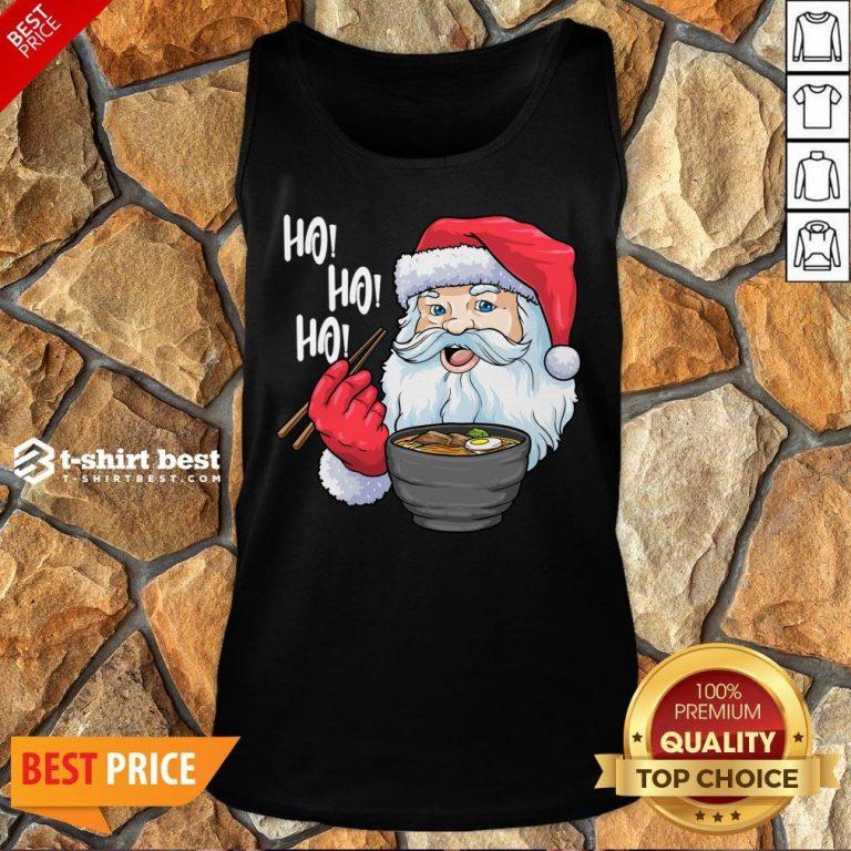 Top Santa Claus Eat Ramen Merry Christmas Tank Top