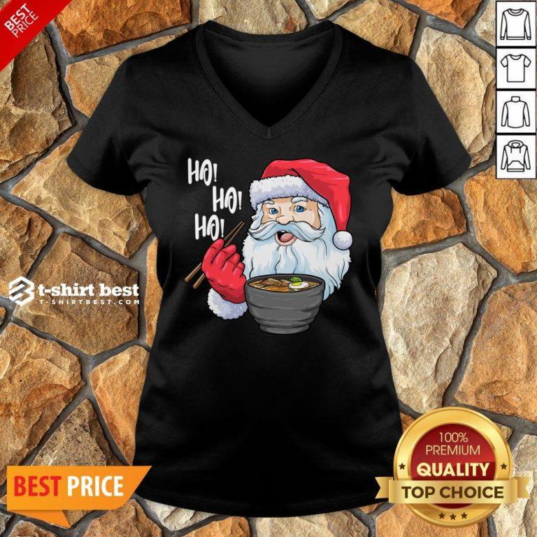 Top Santa Claus Eat Ramen Merry Christmas V-neck