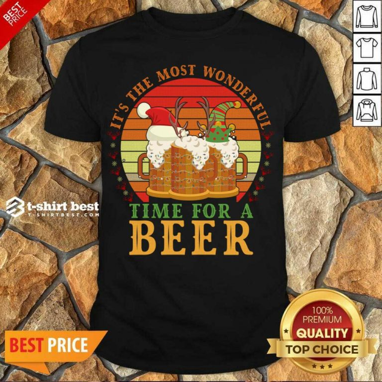 Awesome It's The Most Wonderful Time For A Beer Shirt - Design By 1tees.com