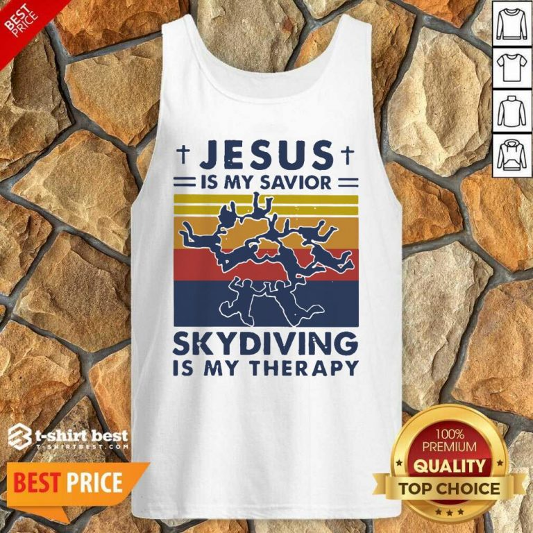 Jesus Is My Savior Skydiving Is My Therapy Vintage Tank Top - Design By 1tees.com