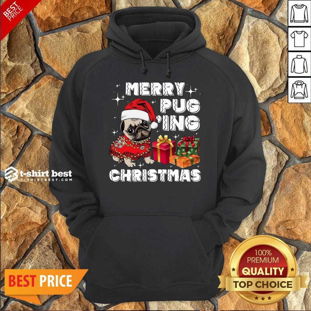Merry Pugging Christmas With Santa Hat Pug Dog Pugmas Pajama Hoodie - Design By 1tees.com